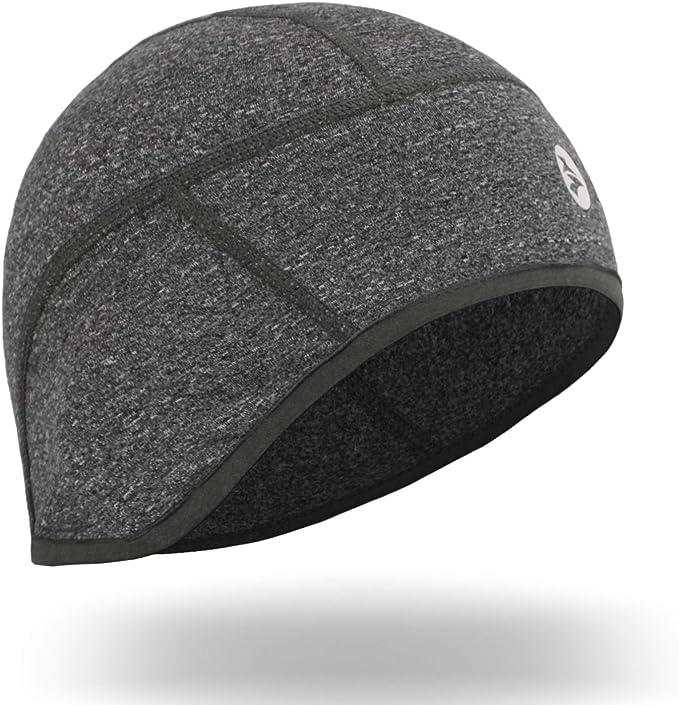 Empirelion Thermo Helm Innenfutter Warme Laufmütze Mittelschwere Schädelmütze Mit Ohrenabdeckungen Und Feuchtigkeitstransport Grau Melange Bekleidung