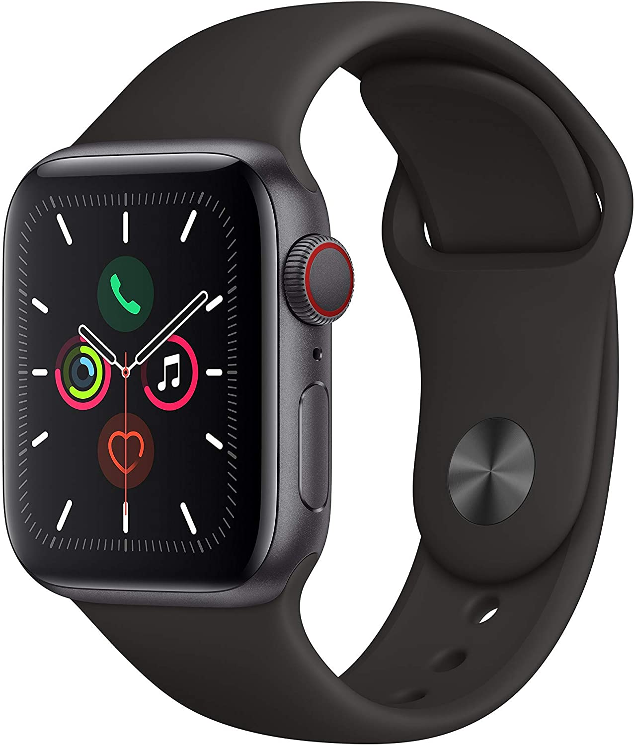Apple Watch Series 5 (GPS+Cellular, 40mm) - Space Gray Aluminum Case with Black Sport Band (Renewed)