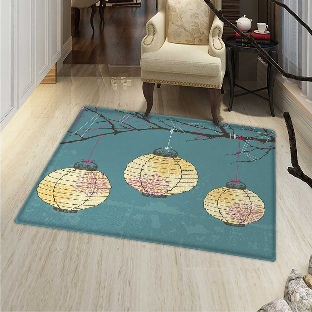 Lantern Area Rug Carpet Three Paper Lanterns Hanging on Branches Lighting Fixture Source Lamp Boho Living Dining Room Bedroom Hallway Office Carpet 36''x48'' Teal Light Yellow by Anhounine