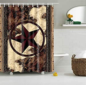 Western Texas Star Bathroom Shower Curtain with 12 Hooks Anti-Bacterial Decor Art Prints Waterproof Polyester (Western Texas Star)