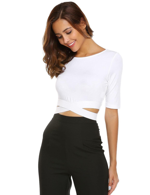 Zeagoo Women's Cute Basic Short Sleeve Loose Crop Top