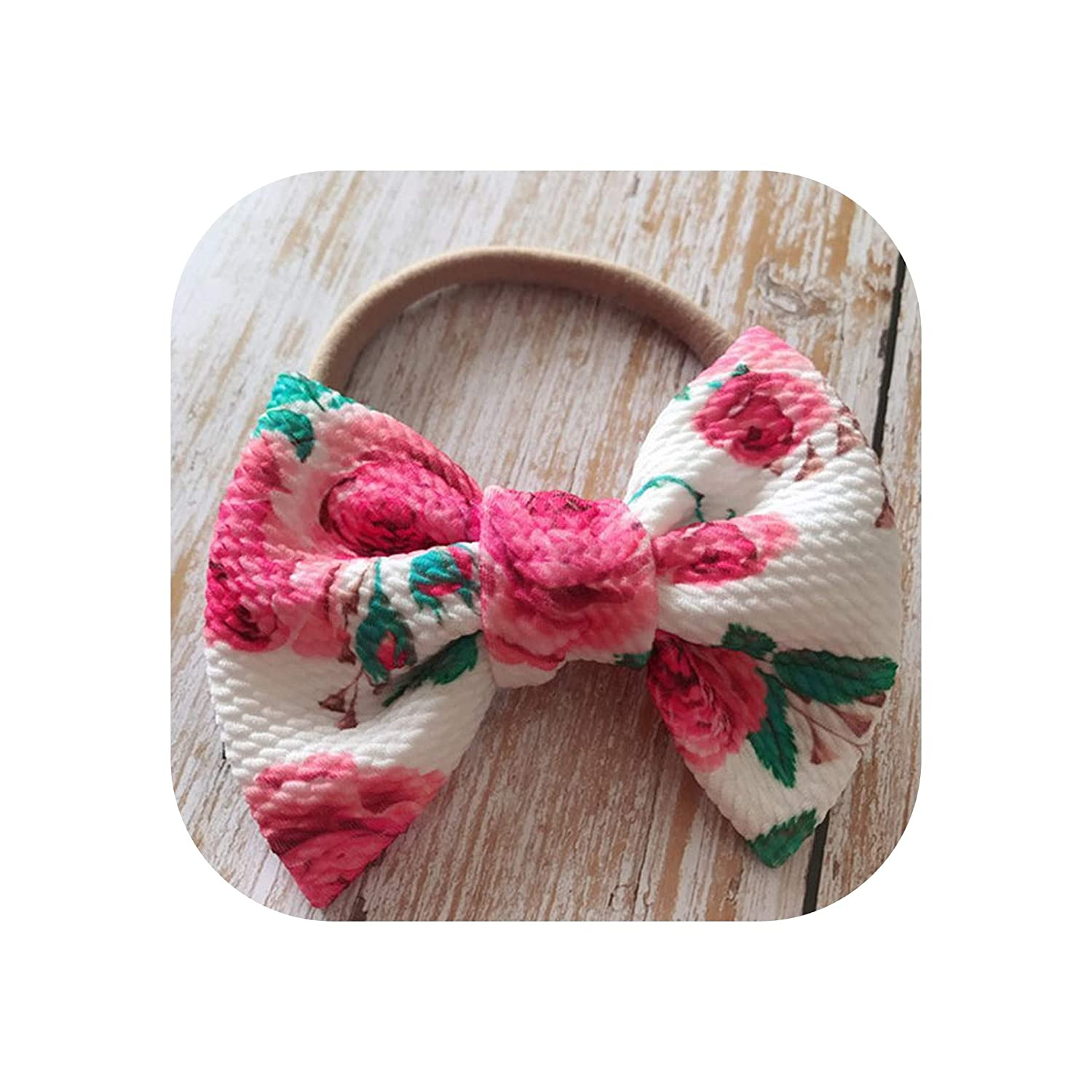 Lovely Floral Print Big Bow Baby Nylon Hairband Elastic Headband Turban Headwrap