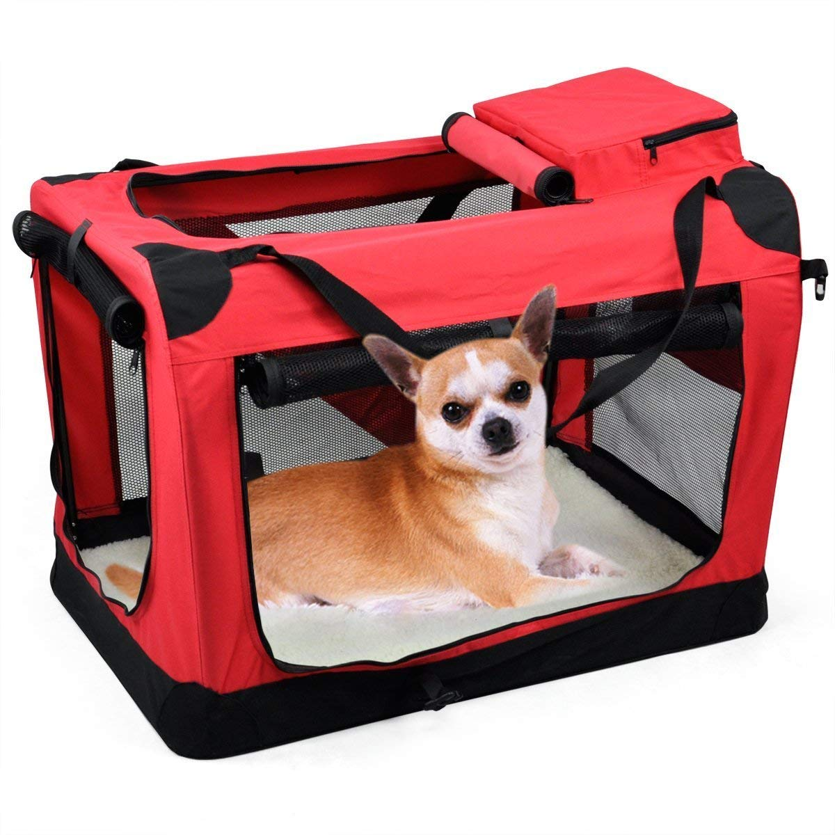 Red Fabric Soft Dog pet Crate, Carrier Kennel Travel Folding Cage Bag