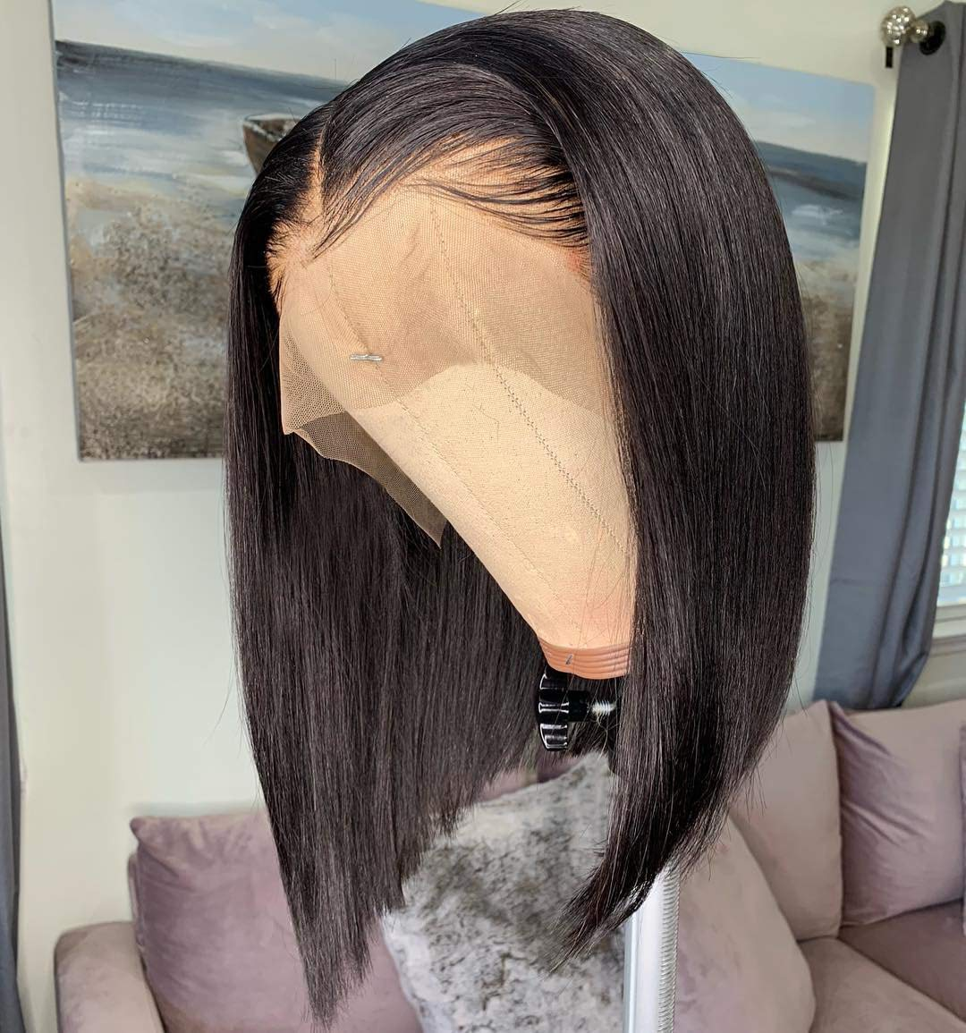 13x6 Short Bob Lace Front Wigs Human Hair For Women Bleached Knots Full End Brazilian Human Hair Wigs density 150% Pre-Plucked (12inch) by U&A