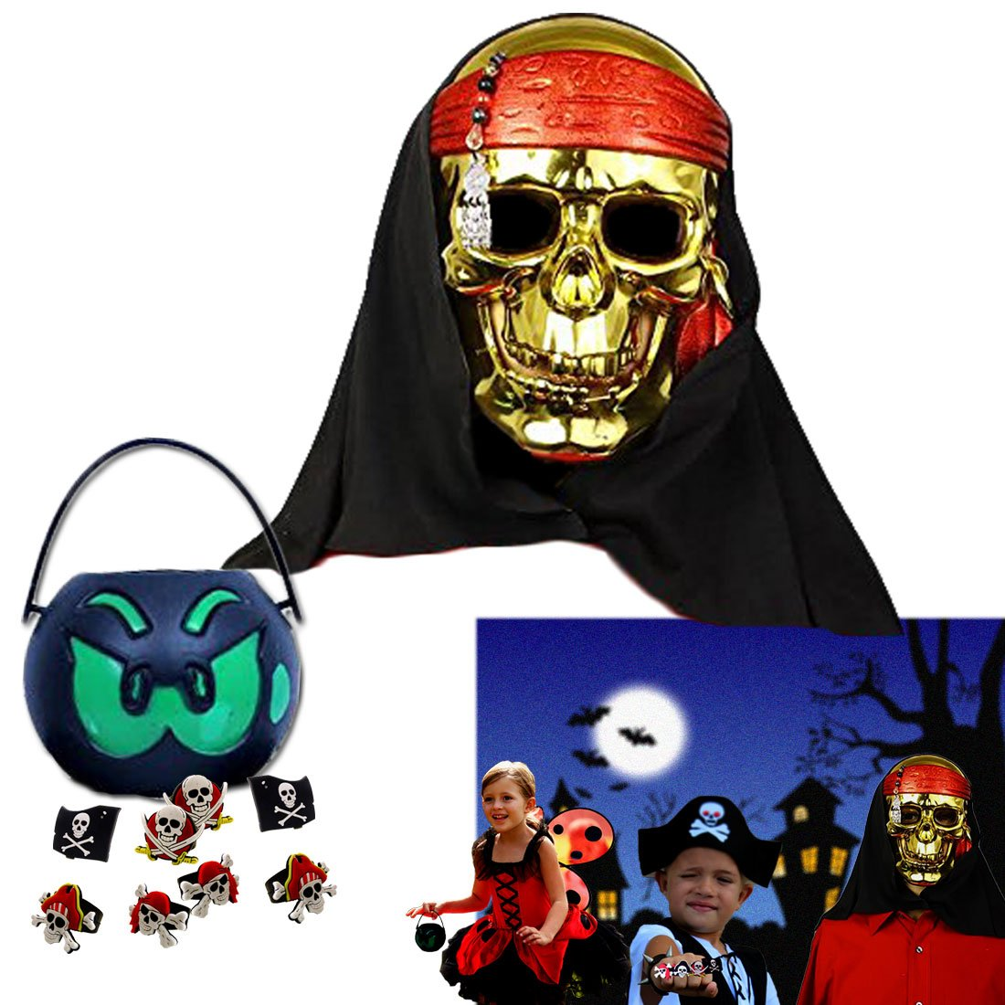 Dazzling Toys Halloween Set Kids Halloween Party Pirate Costume Set 12 Halloween Candy Holders and 12 Pirate Rings. Includes 1 Mask