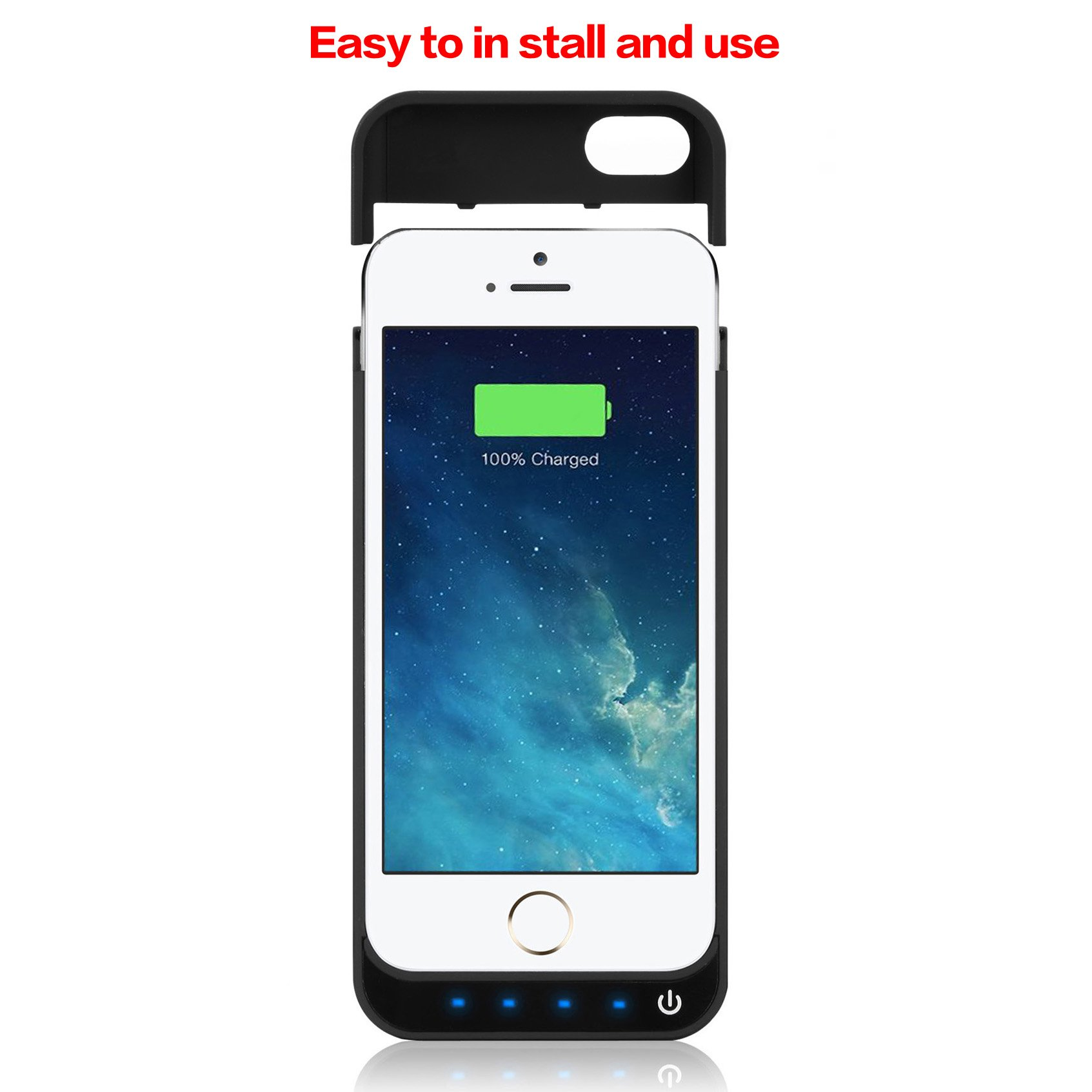 iPhone 5/5S/5C/SE Battery Case iPosible 4500mAh External Rechargeable Charger Case for iPhone 5/5S/5C/SE Charging Case Power Bank Battery Pack [24 Month Warranty] by iPosible (Image #7)
