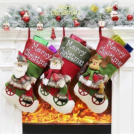 HQQNUO 3 Set Medias de Navidad Decoraciones de Navidad Santa Claus Snowman Reindeer 3D de la