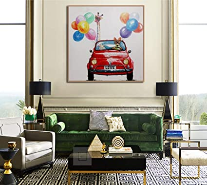 Amazon Com 100 Hand Painted Oil Paintings Hand Painted Red Car