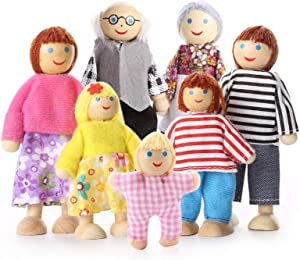 Nlager Family Set Figures, Set of 7 Wooden People - Grandma, Grandpa, Mom, Dad, Sister, Brother & Toddler for Children House, Multicolor