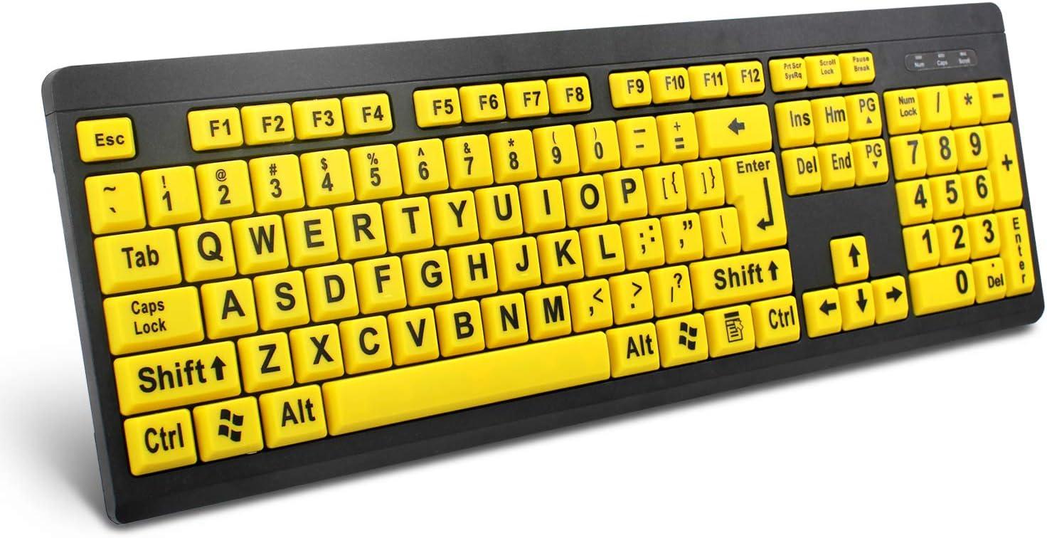 Teclado de Ordenador con Cable USB de Alta Visibilidad, Teclado de Alto Contraste para Personas con discapacidad Visual, Letras Grandes (Amarillo + ...