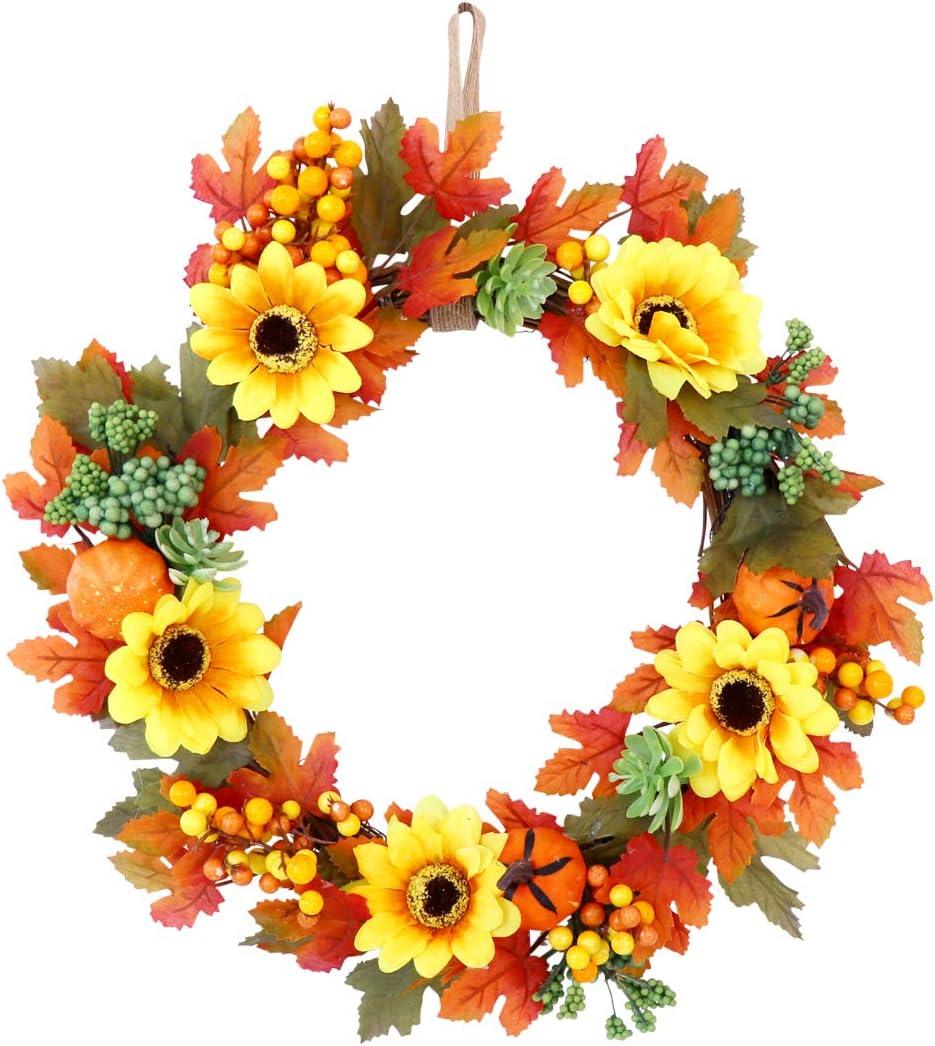 Guirnalda de girasol de flores artificiales - Guirnaldas decorativas de puerta de 32 cm con girasol y hojas de arce y calabazas para decoración de la pared de la oficina de la puerta principal