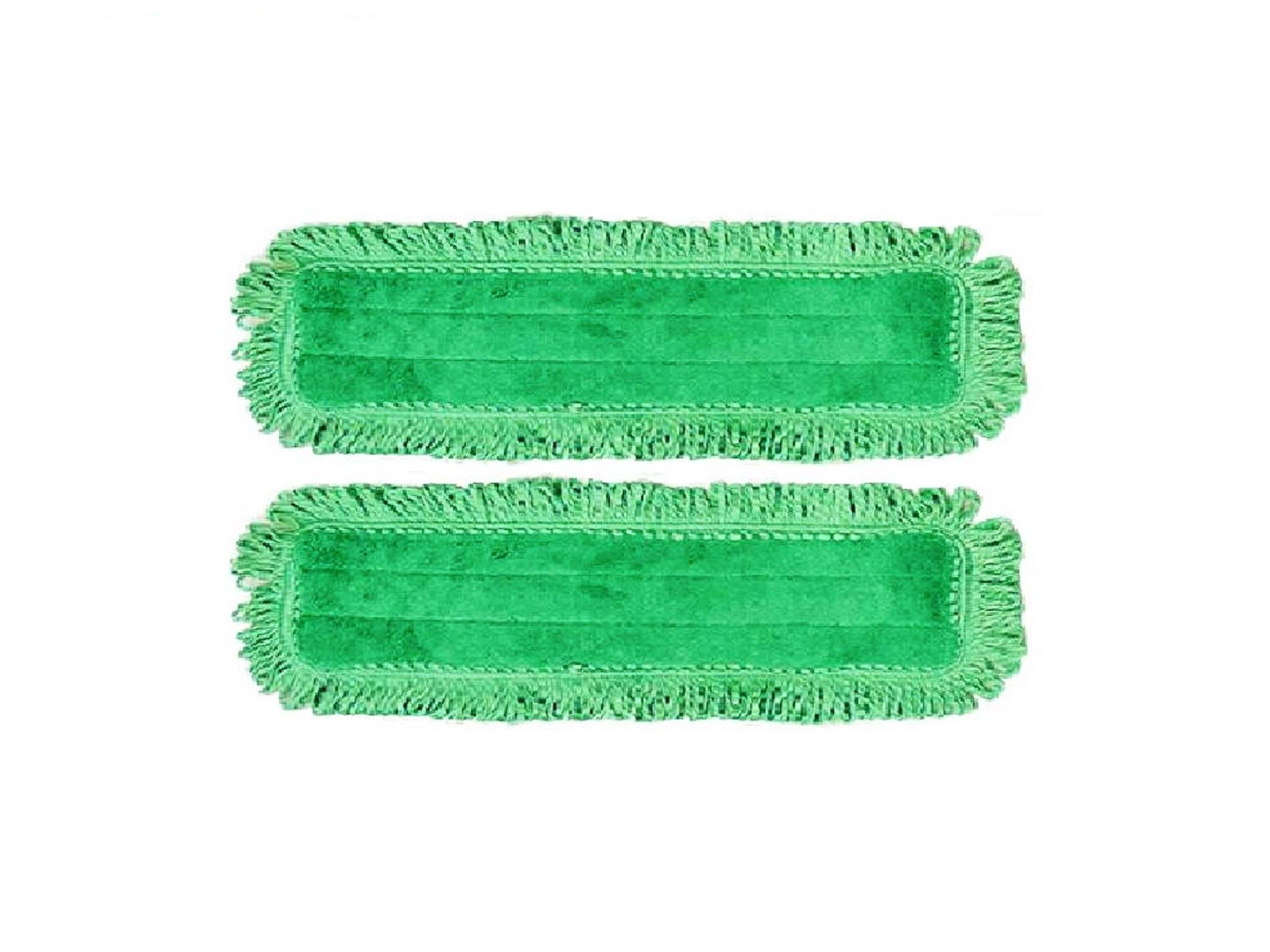 2-pack of 18'' Inch Green Fringe Microfiber Dust Mop Pads for Professional Commercial Microfiber Mops