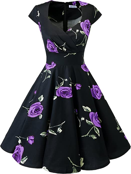 TALLA XS. Bbonlinedress Vestido Corto Mujer Retro Años 50 Vintage Escote Black Purple Brose XS
