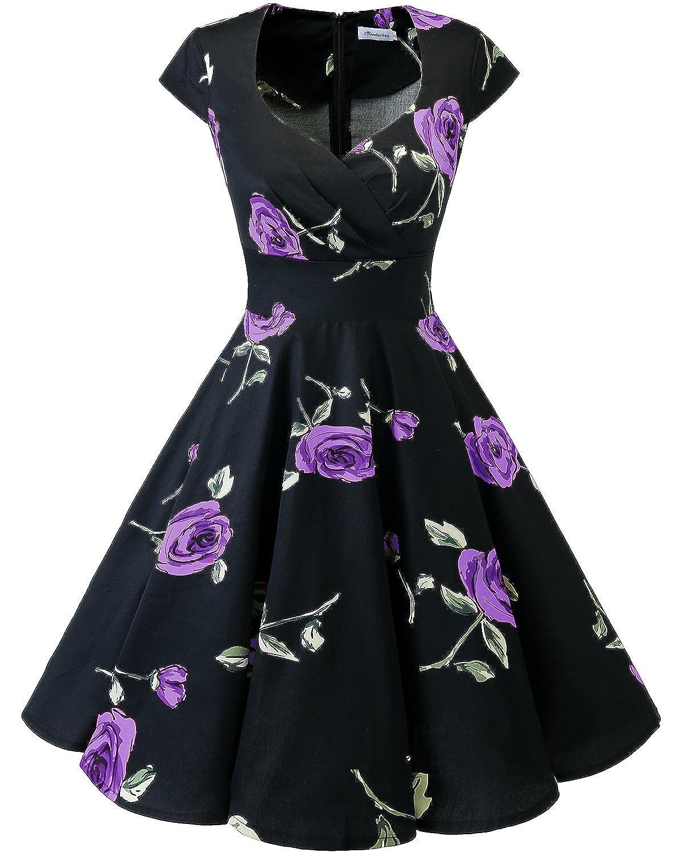 TALLA XS. Bbonlinedress Vestido Corto Mujer Retro Años 50 Vintage Escote En Pico Black Purple Brose XS