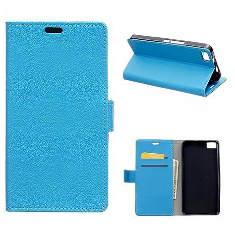 MOONCASE Carcasa para BQ Aquaris M 5.5 Cartera Funda Carcasa Cuero Tapa Case Cover Azul