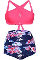 Astylish Women High Waist Two Piece Floral Bikini Front Cross Swimsuit