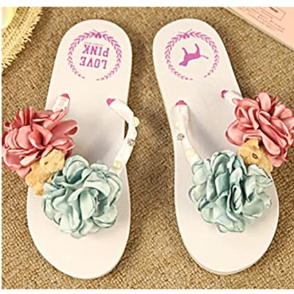 e5ad7a319009 Image Unavailable. Image not available for. Color  KAKA(TM Women s Fashion  Rhinestone Glitter Studded Crystal Flower Thong Sandals ...