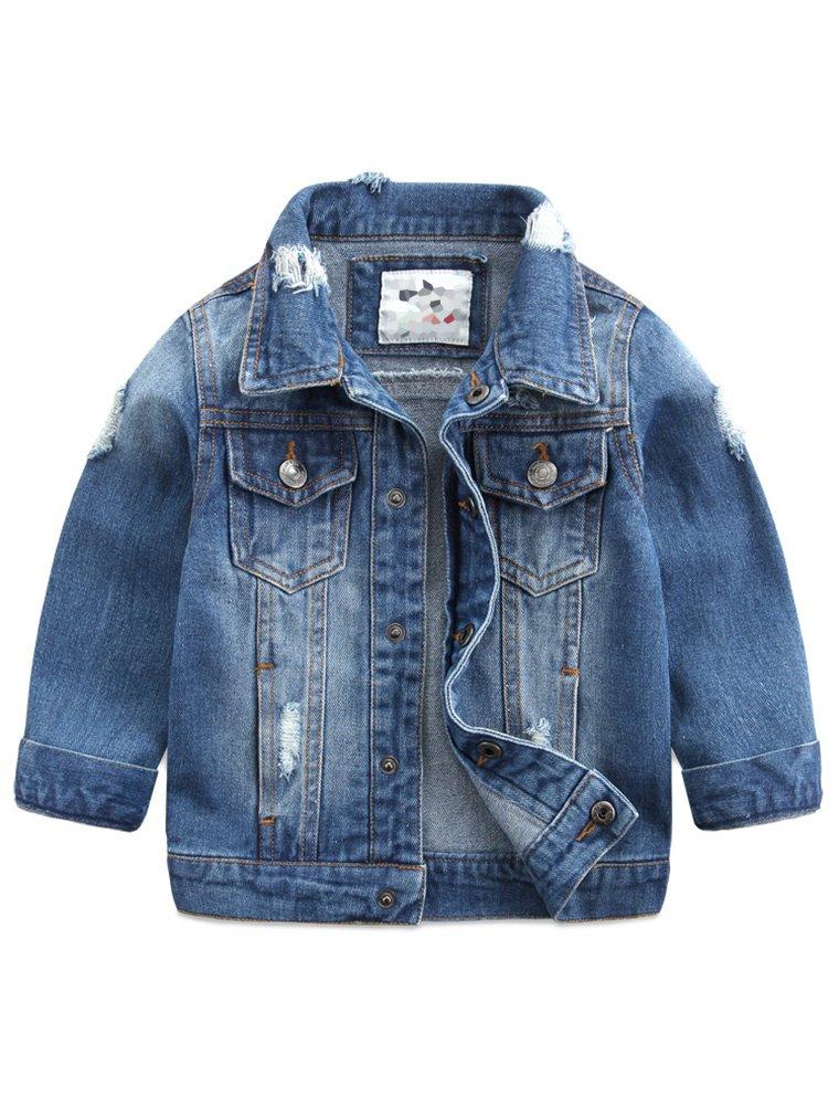 Baby Boys' Basic Denim Jacket Button Down Jeans Jacket Top Style2 Lightblue 100 by Abolai