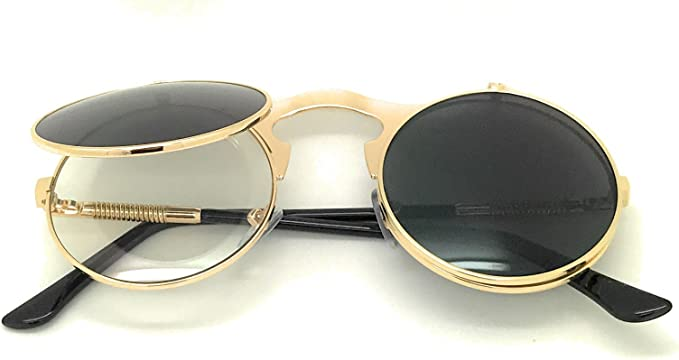 Flip Up Steampunk Sunglasses Mens Women Vintage Circle Frame Clip On Eyewear