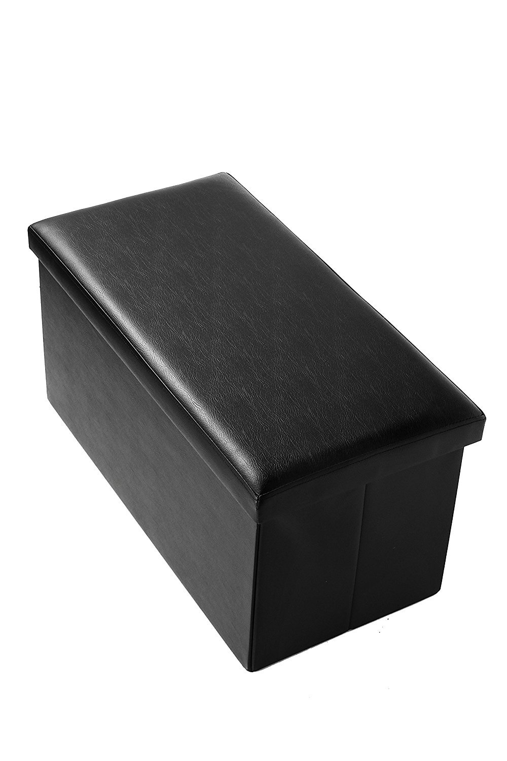 Ottoman Bench Foot Rest - Faux Leather Rectangular Folding Storage - Made From Wood, Black, 30 x 15 x 15 Inches