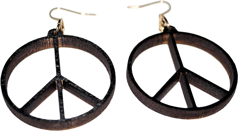 Handmade Acrylic Laser Cut PEACE SYMBOL Earrings black