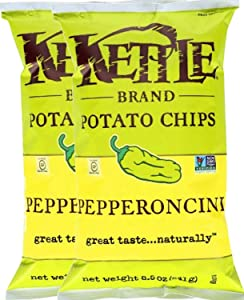 Kettle Brand Kettle Gluten Free Chips Pepperoncini 8.5oz Snack Care Package for College, Military, Sports (2)