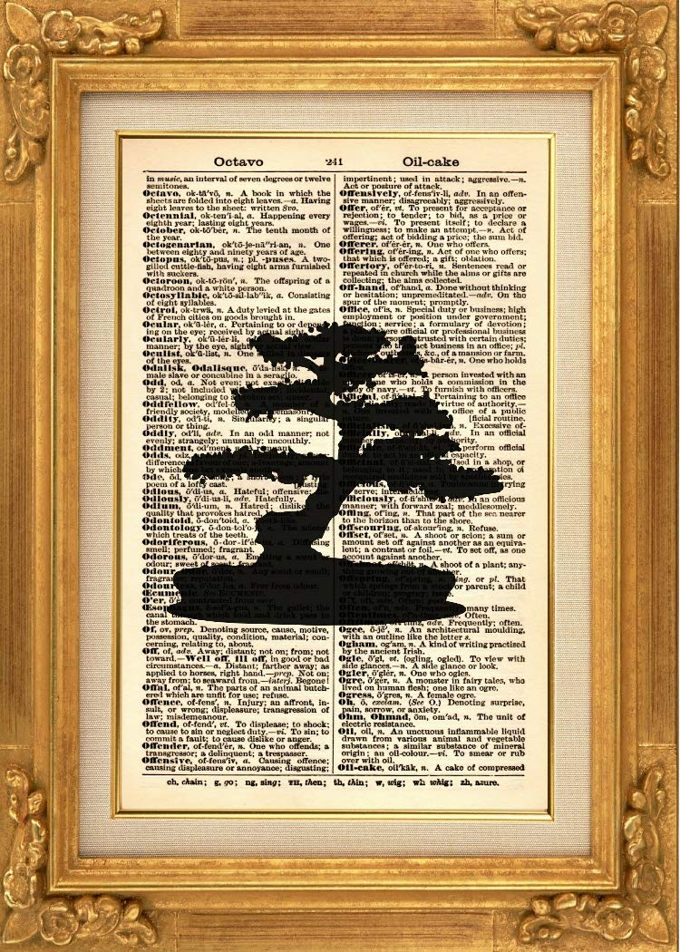 Vintage Art Tree Illustration 652KSD Botanical Art Print Book Page Print Japanese Tree Silhouette Art Print Plant Art Print Bonsai Tree Art Print Vintage Dictionary Art Print