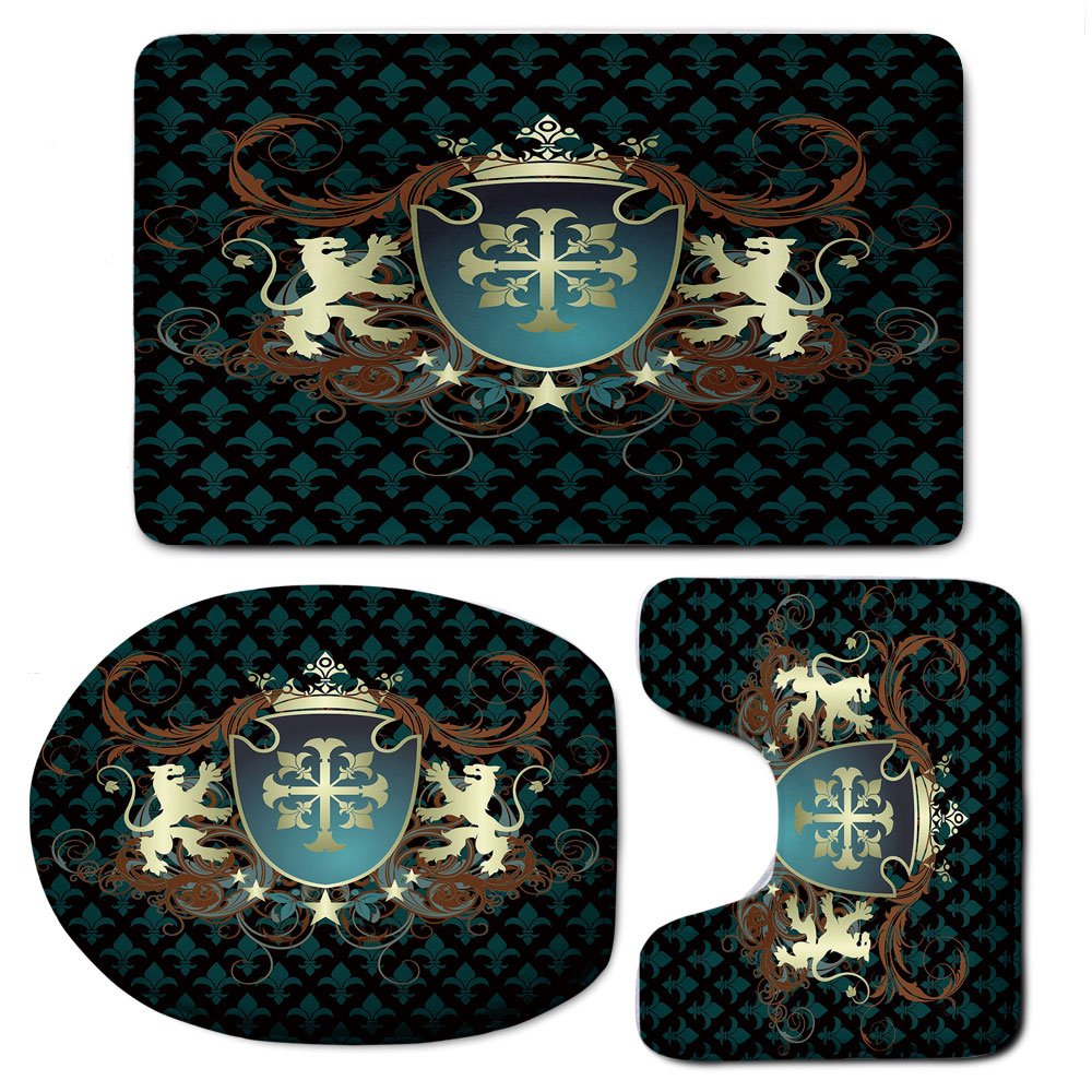 3 Piece Bath Mat Rug Set,Medieval,Bathroom Non-Slip Floor Mat,Heraldic-Design-of-a-Middle-Ages-Coat-of-Arms-Cross-Crown-Lions-Swirls-Decorative,Pedestal Rug + Lid Toilet Cover + Bath Mat,Teal-Black-Ci