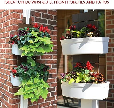 downsprout vertical cubierta de canalón de jardín, puesto de maceta, maceta, Pergola Post maceta, maceta, vida pared: Amazon.es: Jardín