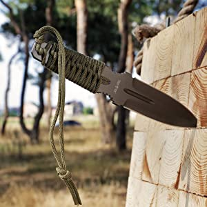 Grand Way Throwing Ninja Knife Paracord Handle - Real Fixed Blade Stainless Steel Tactical Full Tang Balanced Single Knives - Throw Boot Practice Knife Khaki Olive Color FL 15873 (Tamaño: Full Size)