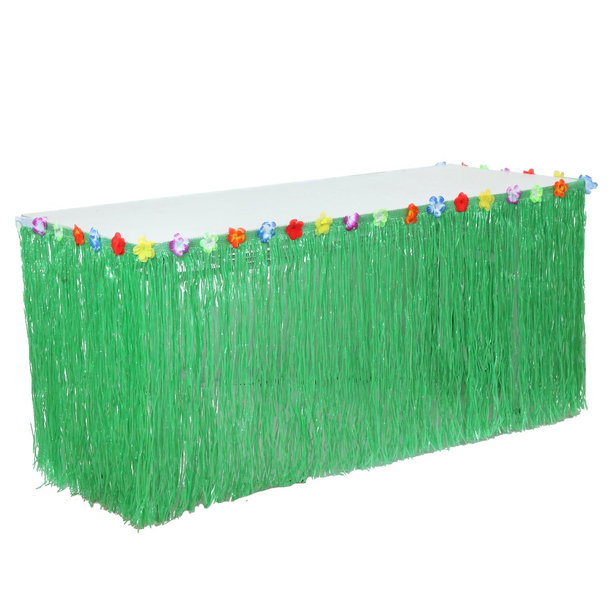 Suppromo 9ft Green Grass Table Skirt Hawaiian Luau Table Skirt with Hibiscus Leis Silk Flower for Luau Party Supplies,Raffia Table Skirt