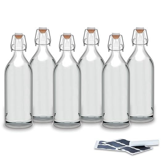 Creative Deco 6 x Botellas Cristal 1 Litro | 6 x 1L | Set con Tapa de Clip Hermético | Rellenable para Agua y Cerveza | 8 Pegatinas Reutilizables y 1 Tiza ...