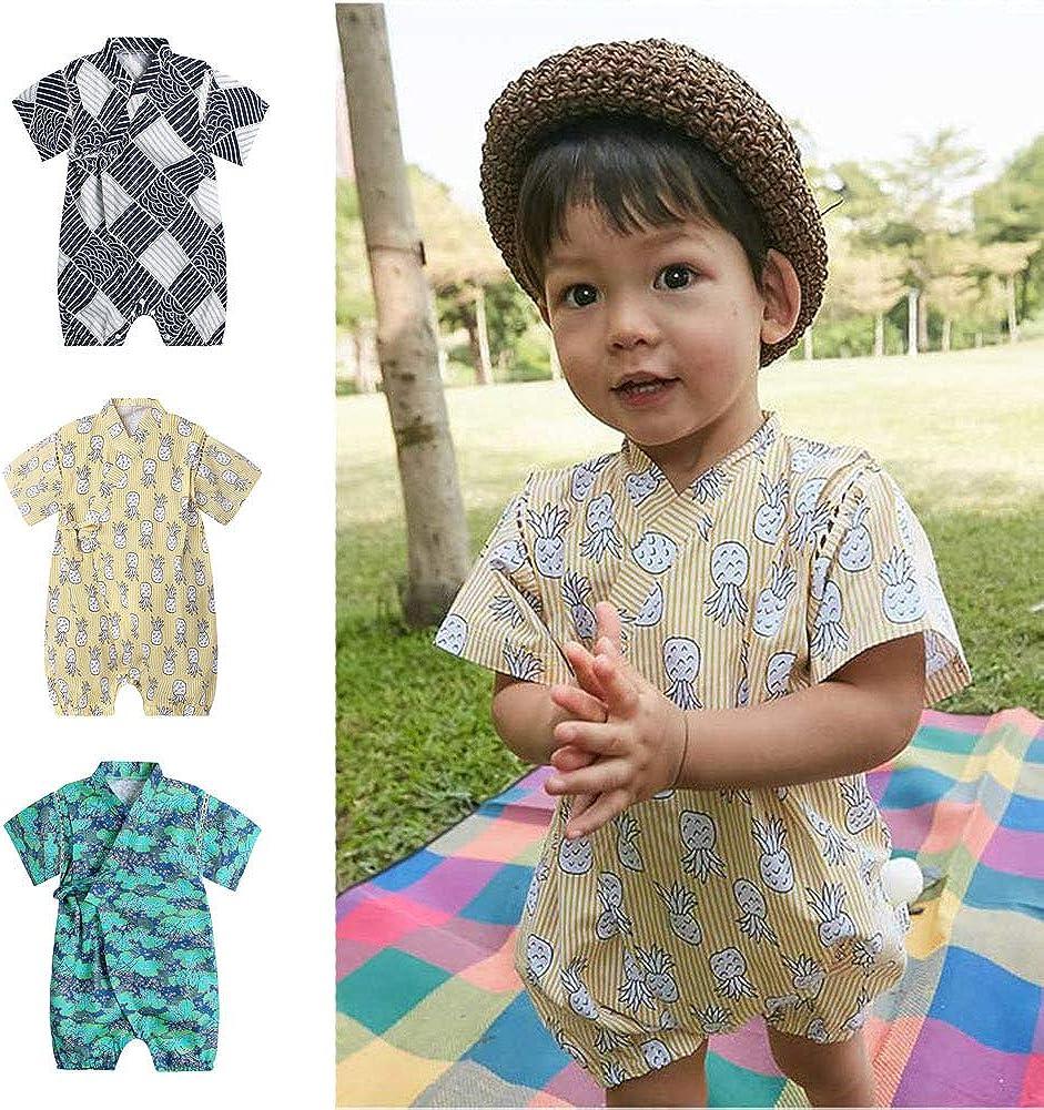 Dizoony Baby Kimono Giapponese Robe Unisex Pagliaccetto Neonato in Cotone Comodo Pigiama Sciolto