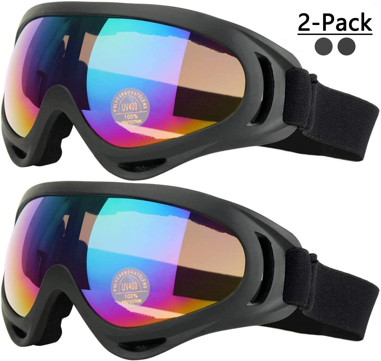COOLOO Ski Goggles, Pack of 2, Snowboard Goggles for Kids, Boys Girls, Youth, Men Women, with Helmet Protection, Wind Resistance, Anti-Glare Lenses
