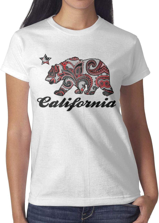 T-Shirt Blend Crew Neck California Bear T Shirts Girls Tops Round Neck