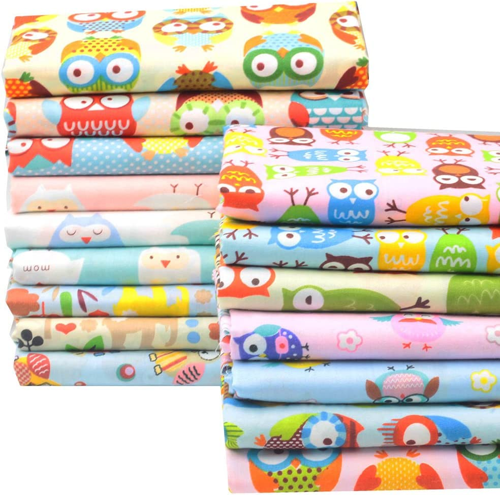 Worldcom Generic 14 Assorted Owl Cartoon Animals Precut Twill Cotton Quilt Fabric Fat Quarter Tissue Bundle Charm Sewing Handmade Textile 40cm x 50cm