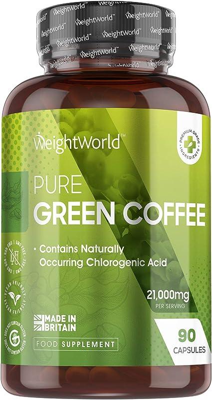Café Verde Puro, Potente Fórmula 7000mg 90 Cápsulas - Suplemento Dietético Green Coffee 100% Natural, Fuente de Cafeína Pura, Vitamina B, Magnesio, ...