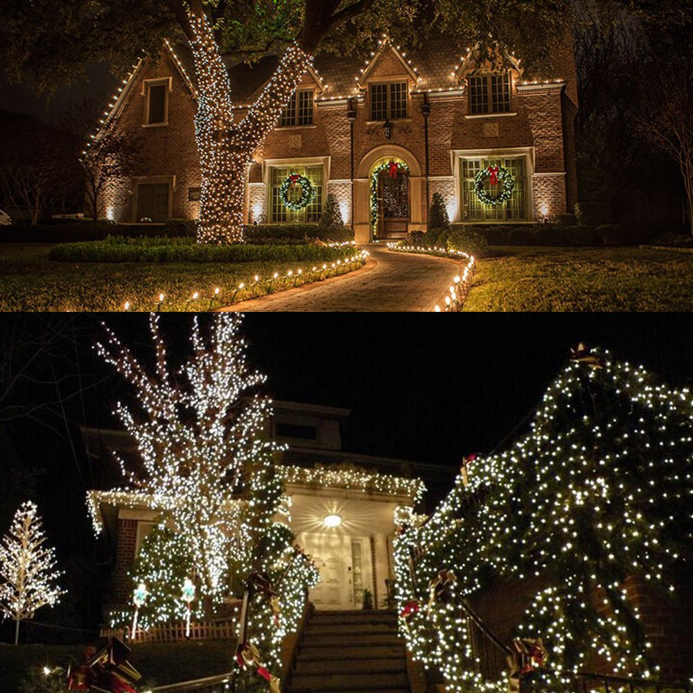 Outdoor String Lights,Solarmks Solar String Lights 100 LED Fairy Lights Waterproof Copper Wire Decorative Lighting for Christmas Patio Lawn Garden Decorations,White,2 of Pack