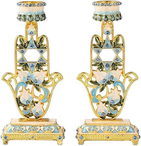 Matashi Hand-Painted Blue and Ivory Hamsa Design Shabbat Candlesticks Candle Holder