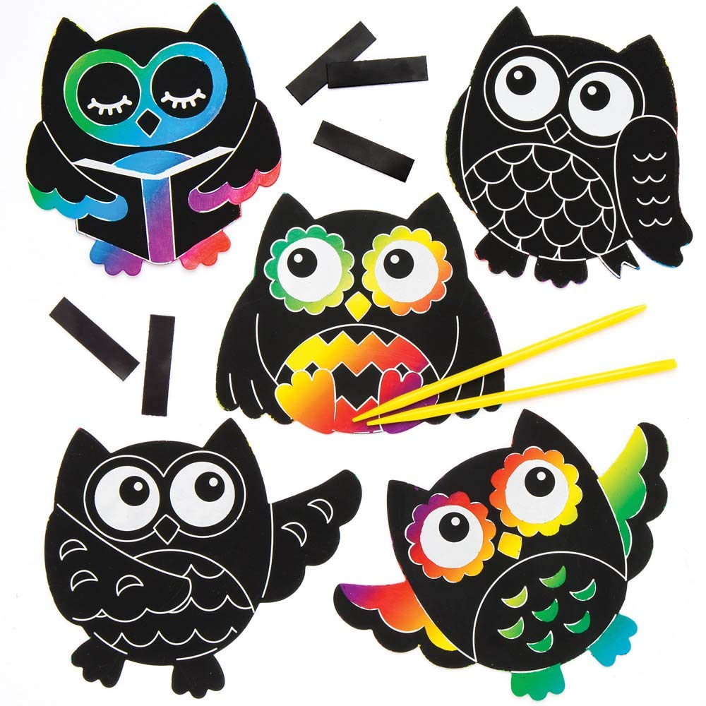 Baker Ross Owl Scratch Art Magnets Pack of 10 for Kids Arts and Crafts