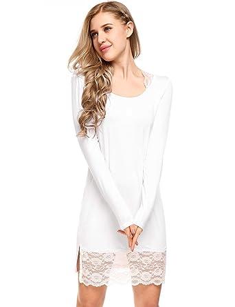Ekouaer Women s Nightgown Cotton Sleep Shirt Scoopneck Nightshirt Long  Sleeve Sleepwear S-XXL ae511cbd1