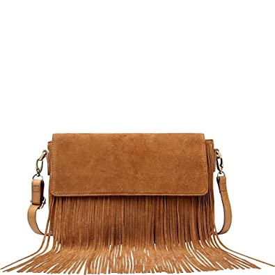 be613a4d0a54 Vicenzo Leather Allyson Suede Leather Fringe Crossbody Handbag (Brown)