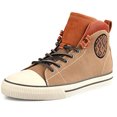48bd1136ca TWEAK Mens Adult High Tops Canvas with Genuine Leather Trainers Ankle Boots  Skates Shoes Brown Lace Up Nomad