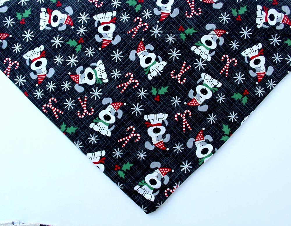 Christmas Dog black bandana over the collar slip on