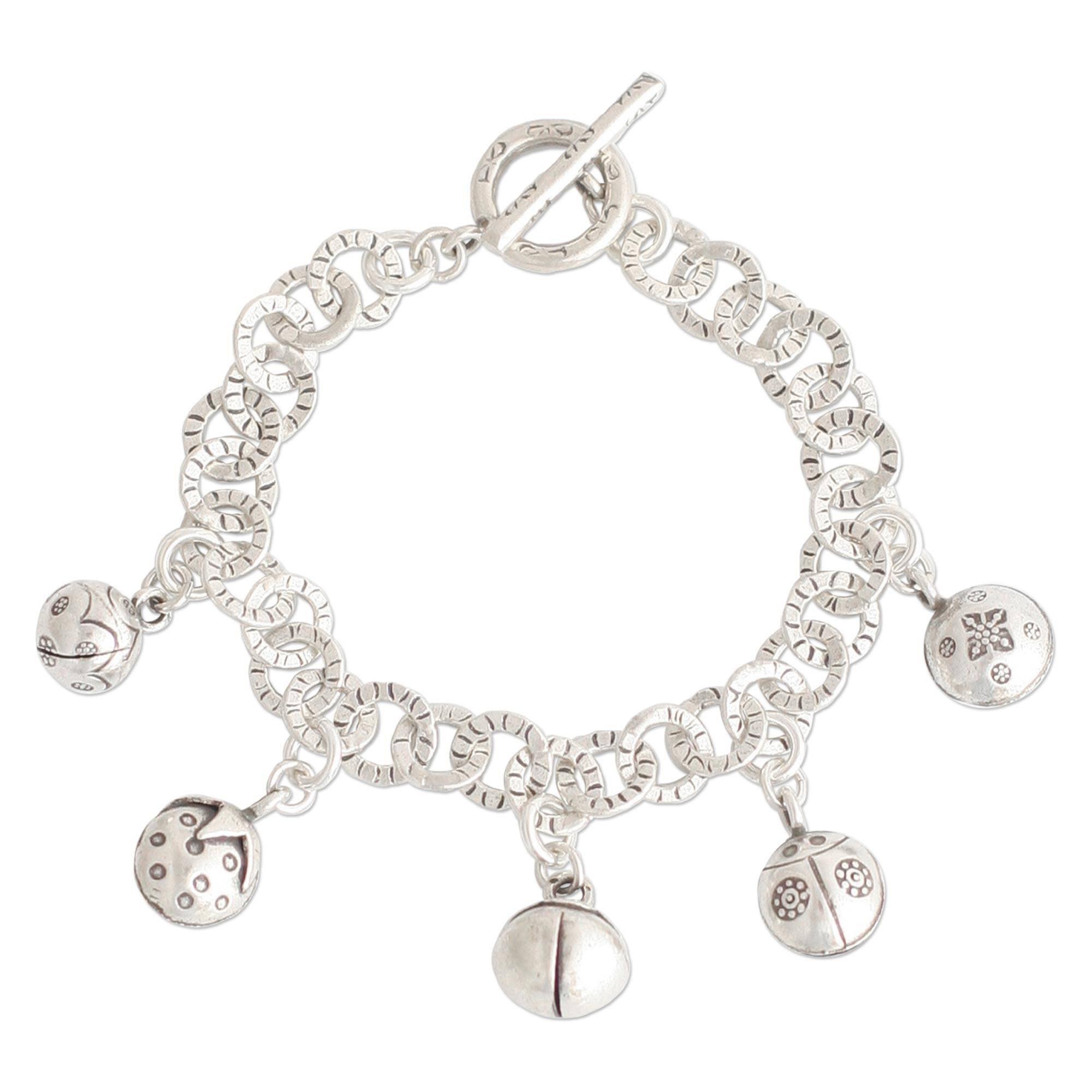 NOVICA .925 Sterling Silver Charm Bracelet 'Ladybug Orchard'