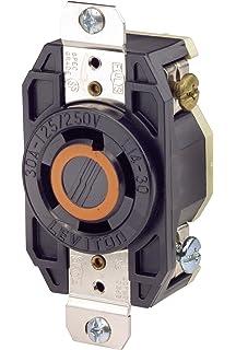 leviton 2710 30 amp, 125/250 volt, flush mounting locking receptacle,  industrial