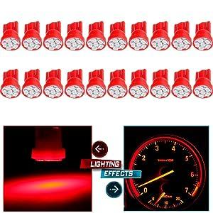 cciyu 20 Pack Super Red Instrument Speedometer Gauge Cluster T10 168 LED Dash Light Bulb