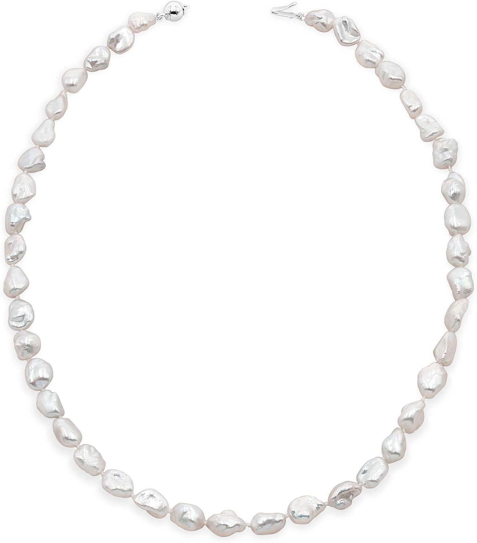 Secret & You Collar de Perlas de Mujer Cultivadas de Agua Dulce Barrocas Keshi de 45 cm de Largo Perlas Barrocas Keshi de 7-9 y 9-10 mm con Nudo Entre Cada Perla.