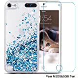 iPod Touch 5 Case,iPod Touch 6 Case, Maxdara[Screen Protector] Glitter Liquid Floating Bling Sparkle Quicksand Case for Girls Children Pretty Design for Apple iPod touch 5 6th Generation (Blue)