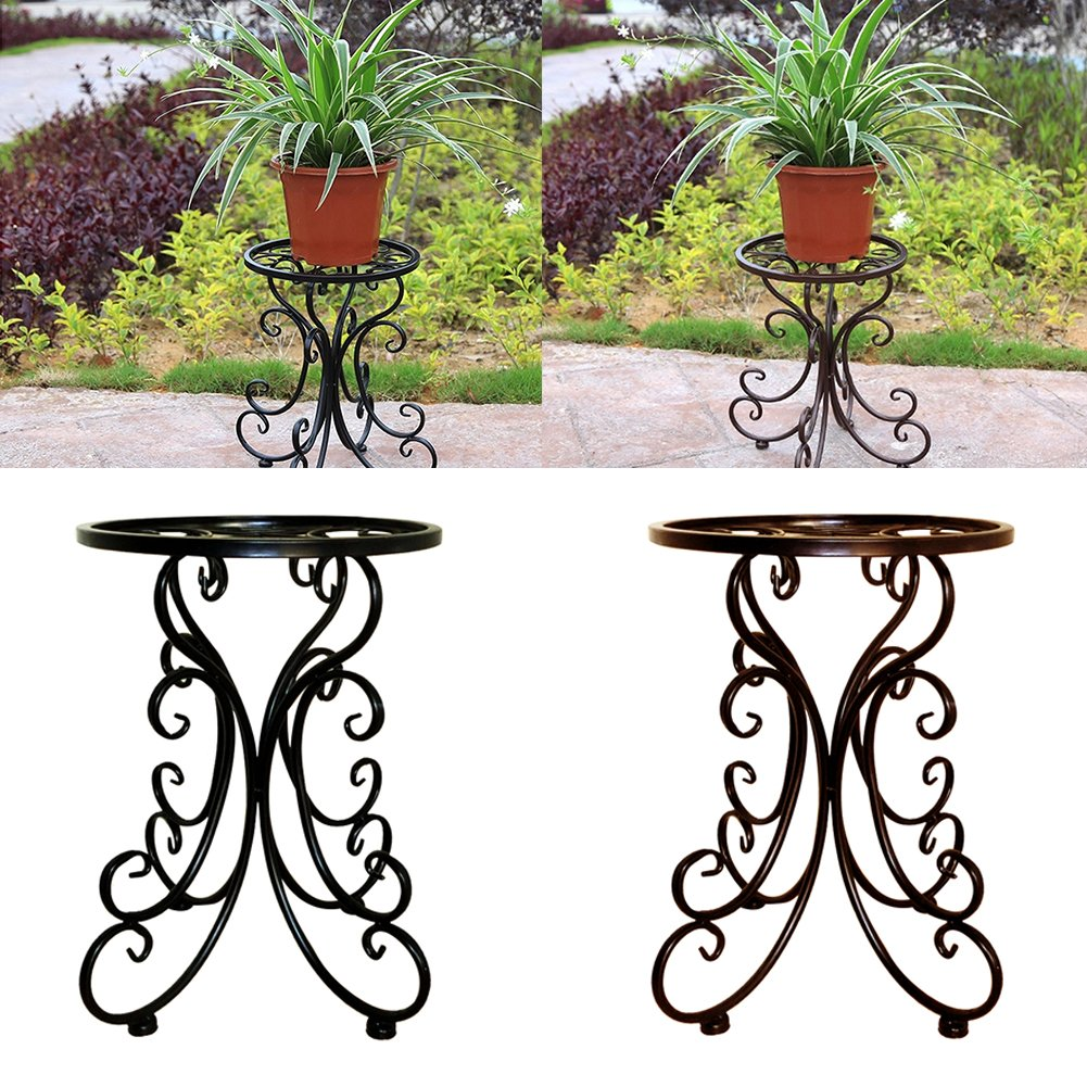 Sue Supply Metal Wrought Iron Flower Round Stool Tall Plant Pot Stand-34cm, Retro European Pattern Style Flower Rack Indoor Balcony, Wedding Party Decor-Black